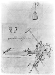 Sketch of a file cutting machine  c. 1480.