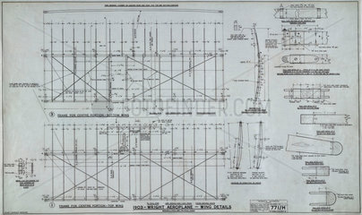 Wing details of Wright 'Flyer'  1903.