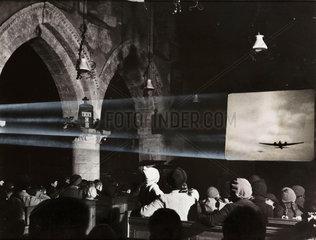 Film show in a church  1941.