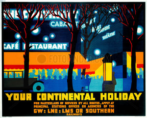 'Your Continental Holiday'  GWR/LMS/LNER/SR poster  1932.