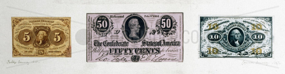 American Civil War currencies  1862-1867.