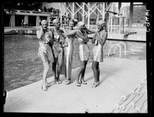 Women in futuristic swimwear  1934.