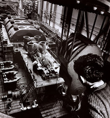Steam turbine being assembled  English Electric  Rugby  c 1954.