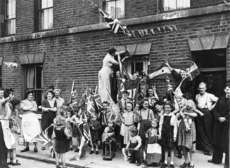VE Day Celebrations  8 May 1945. Families f