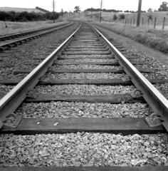 Rail track near Kettering  Northamptonshire  October 1950.