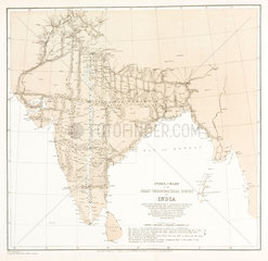 Index chart to the Great Trigonometrical Survey of India  1870.
