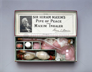 Sir Hiram Maxim's 'Pipe of Peace' bronchial inhaler  1909-1910.
