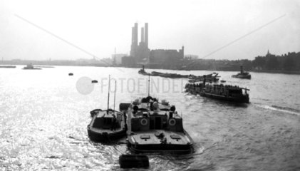 Barges on the River Thames  London  c 1930s.