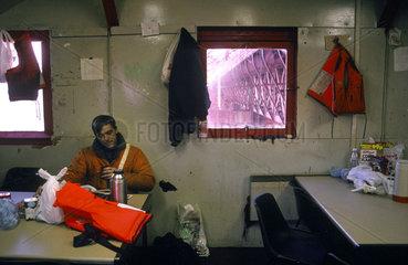 Bothy interior at the Forth Bridge  1997