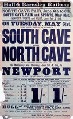 North Cave Fair railway poster  1904.