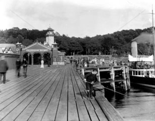 The combined railway station and pier at We