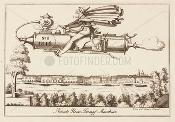 Satire on steam-powered flight  Austria  1846.