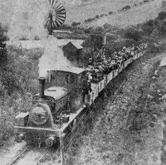 'Pentewan' with excursion train  1915.