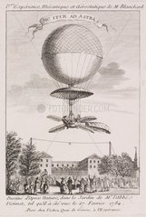 Blanchard's first balloon ascent  27 February 1784.