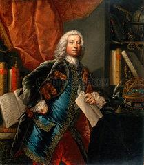 Portrait of a gentleman in his study with scientific instruments  c 1750.
