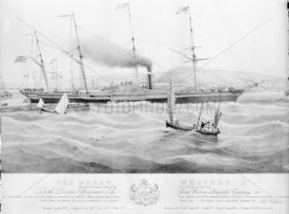 Paddle steamer 'Great Western' on her maiden voyage to New York  1838.