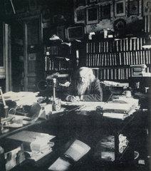 Dmitry Ivanovich Mendeleyev  Russian chemist  in his office  1903.