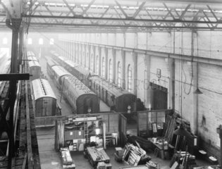 Carriages at Newton Heath Works  Greater Manchester  6 March 1927.