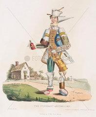'The Itinerant Apothocary'  hand-coloured aquatint  1830.