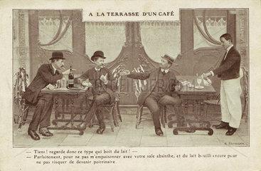 Absinthe versus milk  c 1900.