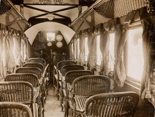 Interior of a passenger aeroplane fitted with Napier engines  c 1920s.