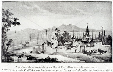 Village with anti-lightning protection rods  1820.