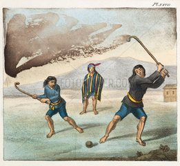 Araucano Indians playing hockey  Chile  1820-1821.