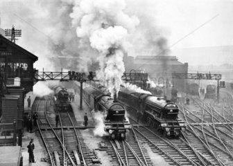 Flying Scotsman at King's Cross station  c 1930.