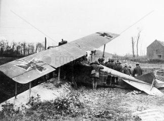 German plane brought down over enemy lines