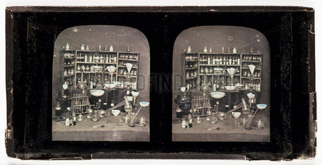 Stereo-daguerreotype of chemicals and equipment  c 1852.
