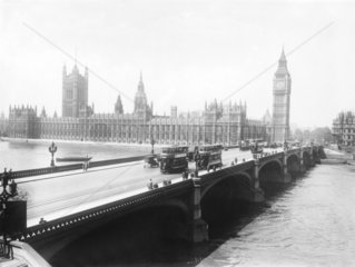 Houses of Parliament from outside County Hall  London  c 1921.