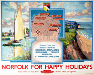 'Norfolk for Happy Holidays'  BR poster  1950s.