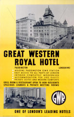 'Great Western Royal Hotel'  GWR poster  1923-1947.