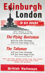 'Edinburgh-London in Six Hours'  BR (ScR) poster  1963.
