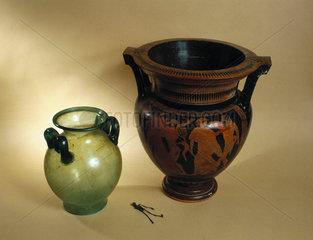 Greek and Roman mixing bowls with 'Larva Convivialis'  450 BC-200 AD.