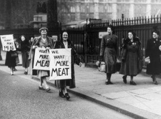 Housewives demonstrating for more meat  30 January 1951.