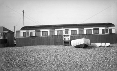 Railway carriage converted into a beach hut  4 July 1939.