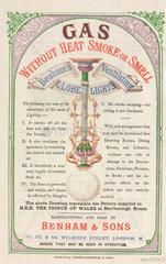 Leaflet advertising gas lights by Benham & Sons  19th century.
