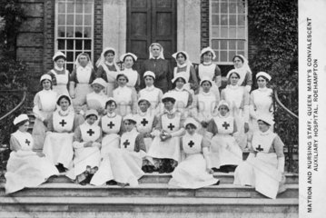 Matron and nursing staff  Queen Mary's Hospital  Roehampton  c 1915-1918.