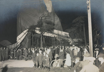Crowds gathered round balloon disaster  c 1920s.