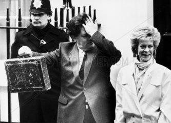 Nigel Lawson with budget box  March 1985.