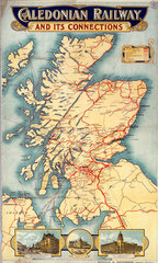 'Caledonian Railway & its Connections'  poster  1900-1923.