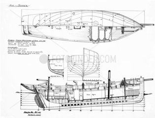 Elevation and deck plan of the smack  'Three Brothers of Rye'  1937.