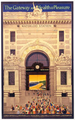 'Waterloo Station - The Gateway to Health & Pleasure'  poster  1922.