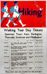 'Hiking - Walking Tour Day Tickets'  LNER poster  1923-1947.