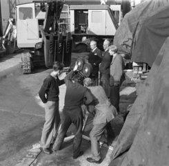 BTF film crew shooting in Priestman's yard  Hull  Kingston Upon Hull  1949.