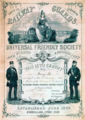 Railway Guards Universal Friendly Society membership certificate  1850.
