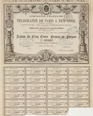 Share certificate for the French Telegraph Company  27 March 1879.