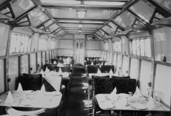 Dining carriage on a train.