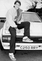 England striker Gary Lineker with his Toyota  December 1985.